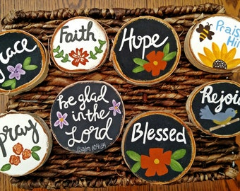 Wood Magnets, Scripture Magnets, Fridge Magnets, Refrigerator Magnet, Small Wood Signs, Birch Wood Slices, Inspirational Magnets, Faith Sign