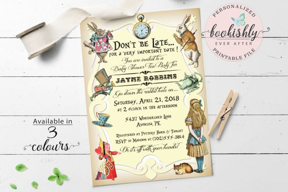 Alice in Wonderland Invitation Printable Alice in Wonderland