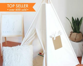 Ready to Ship, Small Natural Canvas Teepee, Play Tent, Kids Teepee, Childrens Teepee, Teepee Tent, Tipi, Playhouse