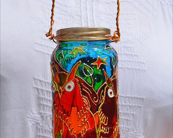 Owl Hanging Lantern Woodland Decor, Stained Glass Owls Garden Ornament, Nature Lover Forest Gift, Hand Painted Owl Mason Jar