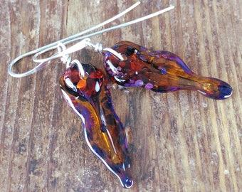 lagenlook earrings – amber glass//mismatched earrings//casual earrings//brown earrings