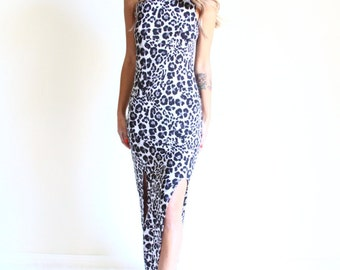90s snow leopard bodycon maxi dress   side slit sleeveless dress   mock turtleneck dress [ extra small - small ]