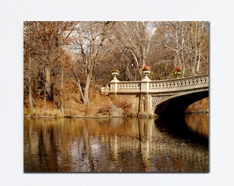 New York canvas art, Central Park photography, New York City gallery wrap, Bow Bridge canvas print, gold brown large wall art nyc wall decor