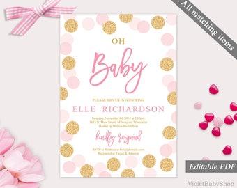 Oh Baby Invitation Etsy - Pink baby shower invitation templates