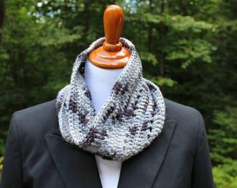 Crocheted Cowl, Gray & Black Cowl,   Neck Warmer, Winter Fashion