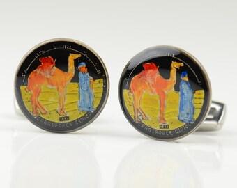 Camel Cufflinks - Antique coins Saharaui