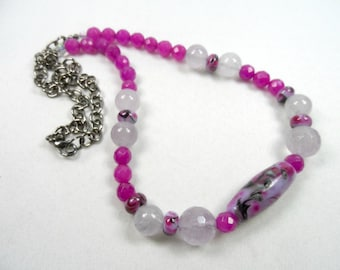 Fuschia Beaded Necklace with Lampwork Focal - Quartz Beads and Gunmetal Finishes - 22 inch length