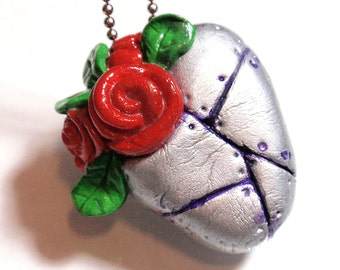 Badass Valentines Heart Pendant Air Dry Clay Rock A Billy Lolita Metal Mended Heart w/ Pinup Roses Hand Sculpted Painted Valentine Gift A3