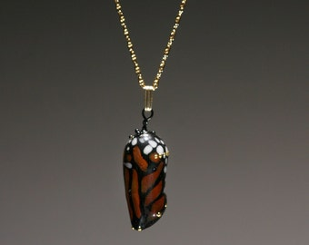 Almost-born Monarch Chrysalis pendant-lampwork glass