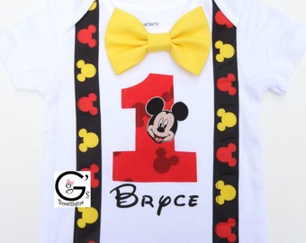 Mickey Mouse Disney Clubhouse Birthday Outfit Party Top Shirt Bodysuit Boys Toddlers 1st 2nd 3rd  (Only Top) Personalization is Optional