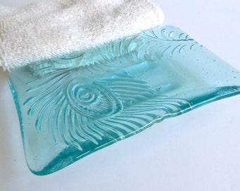 Fused Glass Peacock Feather Imprint Soap Dish in Pale Aqua Tint