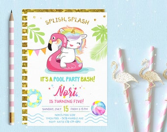 Unicorn Pool Party Invitation, Pool Party Birthday Invitation, Pool Party Birthday Invitations, Pool Party Invites, Pool Party Invite,