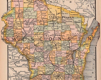 map of Wisconsin from 1891, an instant download, digital map no.  313