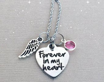 Forever in my Heart Necklace, Memorial Necklace, Sympathy Gift, Remembrance Jewelry, Memorial Jewelry, Swarovski Crystal Birthstone