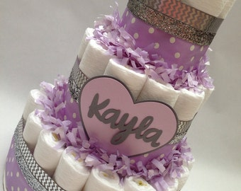 Lilac and Grey Diaper/Personalized Diaper Cake/Diaper Cake/Diaper Cakes/Unique Diaper Cake/Silver Diaper Cake/Baby Shower Centerpiece