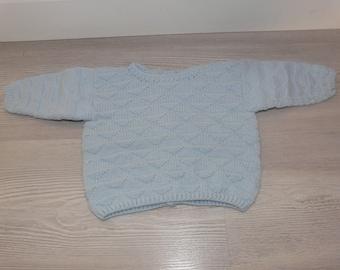 Handknitted sweater jacket 0-3 months baby blue horizon - birth gift