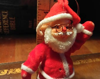 Vintage Flocked Santa with Glasses and a Bright Red Nose, Mid Century Santa with Wire Rim Glasses