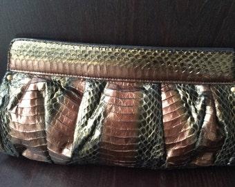 Beverly Feldman Genuine Snakeskin Clutch