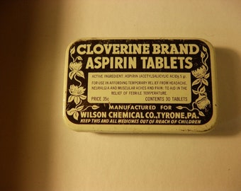 Cloverine Brand Aspirin Tablets Vintage Tin, 1950s