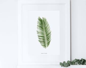 Palm Leaf Print, Tropical Leaf Print, Botanical Print, Home Decor, Housewarming Gift, Crazy Plant Lady, Moving Present Gift