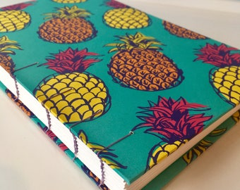 Neon Pineapple Journal, Handbound Blank Book, Sketchbook w/ Exposed Coptic Stitch Spine (5.75 in x 9 in)