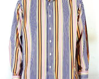 vtg 90s Polo Ralph Lauren Bright Colorblock Striped Dress Shirt Westerton L