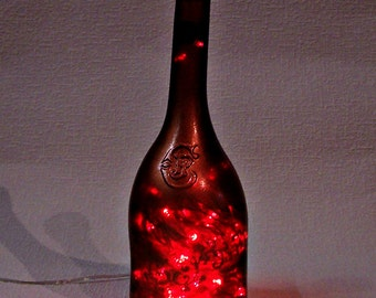 Lighted Bottle. Recycled Hand Decorated JP CHENET Wine Bottle with 100 LED Red Lights Inside. Bottle Lamp. Party Decor Lights.