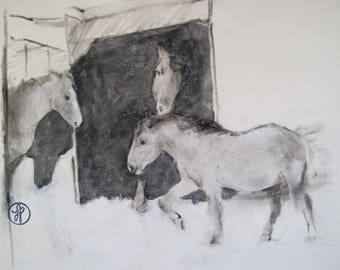 Original horse charcoal drawing sketch- horses in the snow