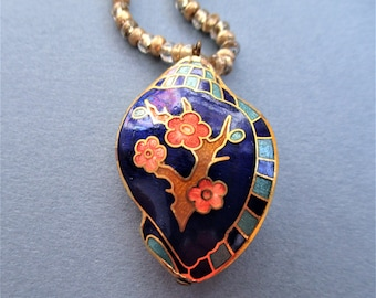 Cloisonne Pendant Puffed Shell Pendant Beaded Necklace Blue Peach Gold Floral Pendant Vintage Jewelry Bridesmaid Gift Handmade Jewelry