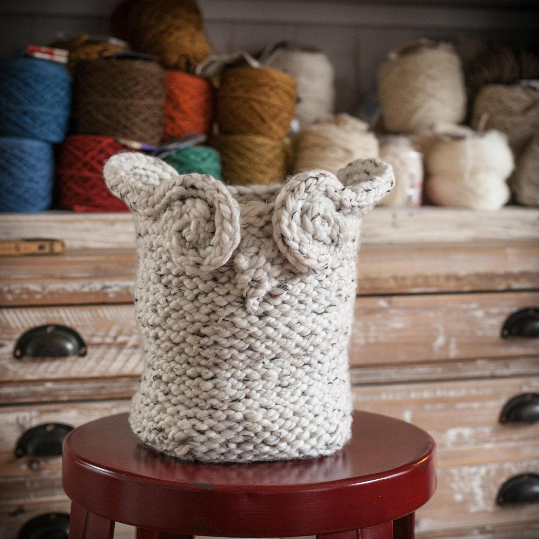 Loom Knit Owl Basket PATTERN, Yarn Basket, Catch-All Basket ...