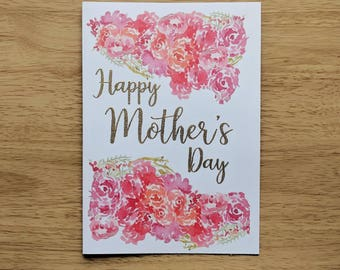 Customisable Floral Gold Embossed Happy Mother's Day Card