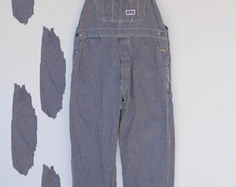 80's Vintage Big Smith Navy + White Pinstripe Denim Overalls