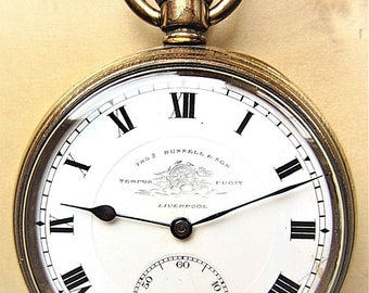 1910s Swiss RG Thos Russell Tempus Fugit Mech Pocket Watch