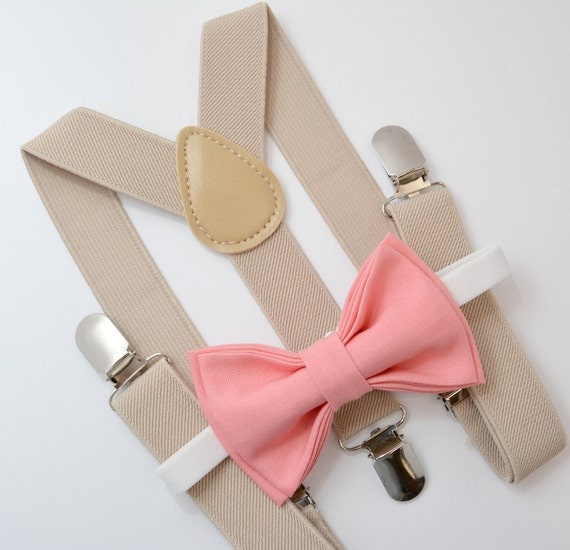 Bow Tie & Suspenders SET / Coral Bow Tie / Tan Khaki