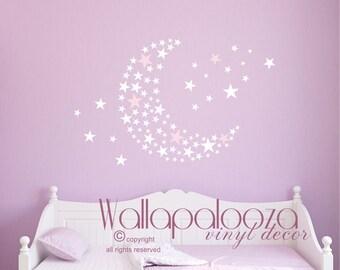 star moon wall decal - nursery wall art - star and moon nursery decal - girls room decal - stars decal - set of stars decal - Wallapalooza