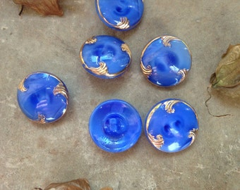 6 Old Blue Moonglow collectors/glass buttons-hangemahltes patterns (019)