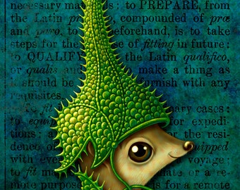 Strangely cute art print 4x6, Come Try My Helmet On: Small furry fantasy creature, weird green armor, Brave little animal, Oddity curiosity