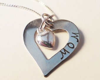 Mothers Necklace - Handstamped in Sterling Silver - N0084
