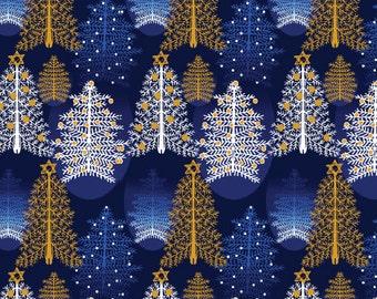 Fat Quarter Season's Greetings Christmas Trees Blue 100% Cotton Quilting Fabric