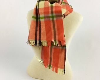 1970s Plaid Merino Wool Scarf - Vintage 1970s Orange Plaid Wool Scarf - Made in West Germany - Carson Pirie Scott & Co - Retro Plaid Scarf