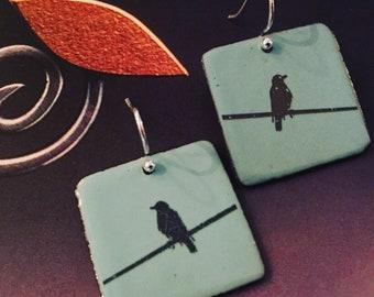 Birds on a Wire Earrings, Bird Earrings, Bird on the Wire Earrings.