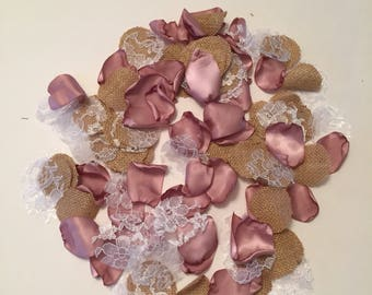 Rose Gold Petals/Pink Rustic Petals/Rustic Wedding Decor/Burlap Rose Petals/Barn Wedding Decor/Dusty Pink Petals/Antique Mauve Petals