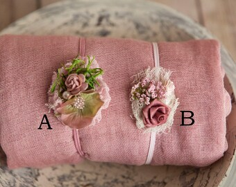 Dusty Rose Mauve swaddle wrap set w length choice  100% cotton Dusty Mauve swaddle+ Cute headbands w textures moss newborn swaddle wrap set