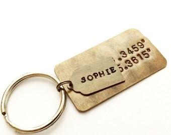 Latitude Longitude Keychain. Personalized Coordinate Keychain. GPS Coordinate Keychain