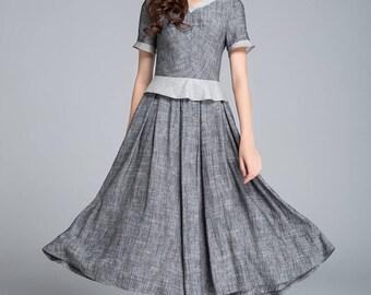grey dress, linen dress, summer dress, retro dress, block color dress, pleated dress, elegant dress, womens dresses, plus size dress 1760