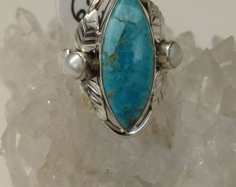 CLEARANCE * AS IS Blue Turquoise and Pearl Ring Size 6 1/4