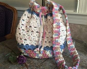 Boho Market Bag, Hobo Bag, Cinch Bag, Boho Bag, Crochet Bag, Crochet Drawstring Bag, Tote, Purse, Bag, Crochet Boho Bag, Crochet Market