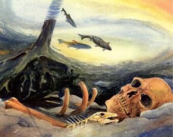 ORIGINAL Watercolor by Barry Singer...Trout fisherman's last day Fishing Skull Stream Art Fly fishing best unusual fish art