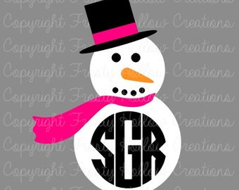 Snowman Monogram Frame cutting file SVG, studio instant download PERSONAL USE only!