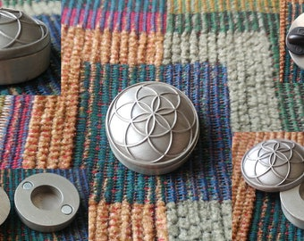 Sacred G Geometry Flower of Life Antique Silver Tone Poison Ring Pill Stash Box Lapel Hat Pin